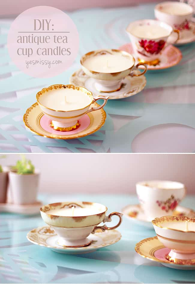 Adorable homemade tea cup candles are the perfect DIY Christmas gift for women if you're feeling a bit crafty!