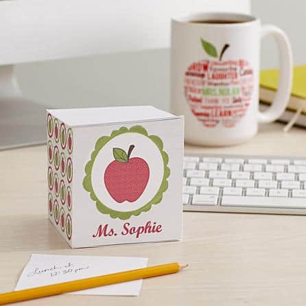 Christmas Gifts for Teachers...adorable personalized note cube is a useful present that is inexpensive and fun.