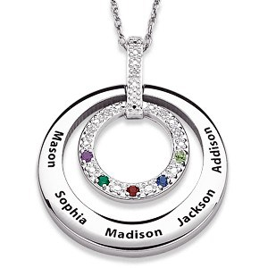 Sterling Silver Diamond Grandma Necklace with Birthstones and Names