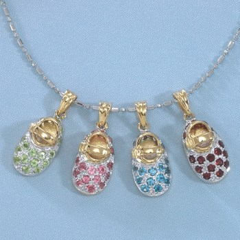 14k Gold Baby Shoe Birthstone Charms