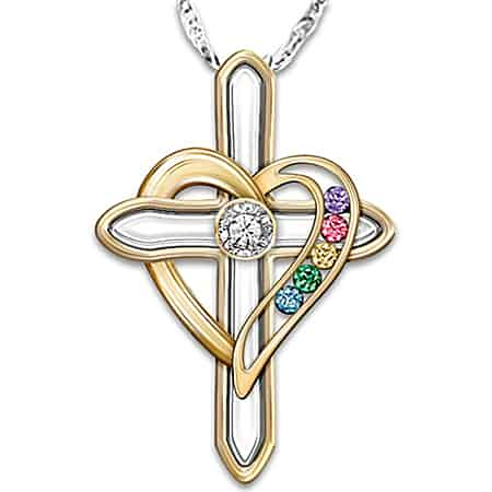 Diamond Cross and Heart Grandma Necklace with Birthstones