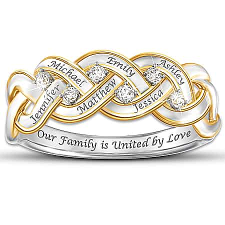 Thrill Mom on her birthday, Christmas, or Mother's Day with this sparkling diamond ring that features her children's names.