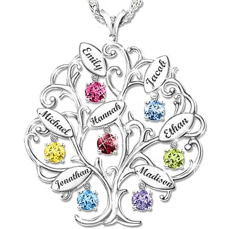Engraved Family Tree Birthstone Necklace for Grandmother