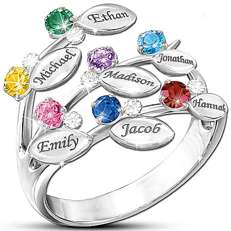 Family Tree Ring for Mom with Birthstones and Names