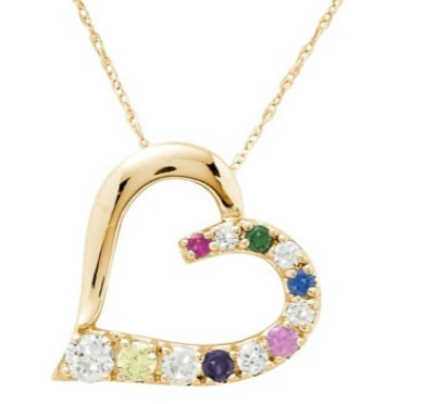 Gold Heart Grandmother Necklace with Genuine Birthstones