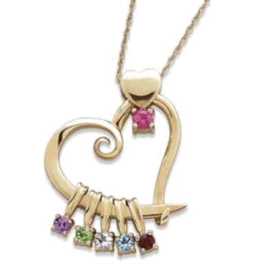 Gold Heart Birthstone Necklace