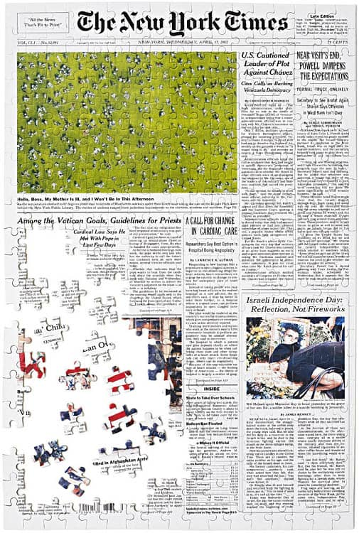 NY Times Front Page Jigsaw Puzzle from the Day You Were Born