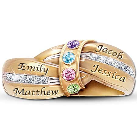Personalized Family Ring for Mom with Names and Birthstones