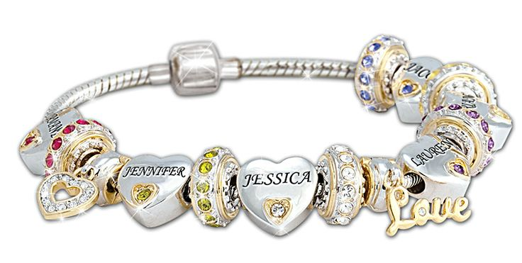Birthstone and Name Family Bracelet for Mom