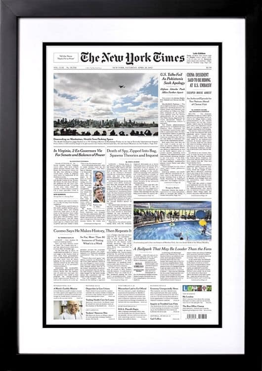 Milestone Birthday Gift Ideas - Looking for a unique birthday gift for the man or woman who has everything?  Surprise him or her with The New York Times front page reprint from the day they were born!
