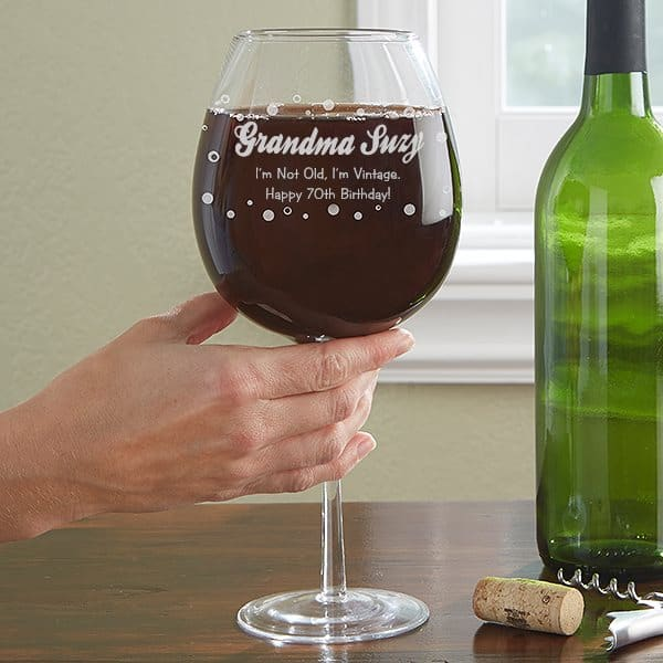 Personalized 70th Birthday Oversized Wine Glass
