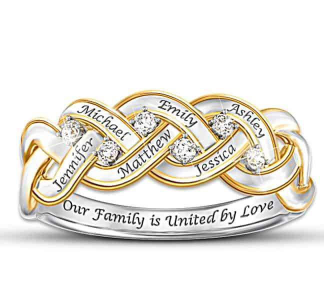 Sterling Silver Diamond Mothers Ring with Names