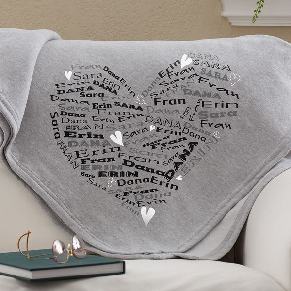 Cozy sweatshirt blanket is a fabulous birthday or Christmas gift for any senior!  Featuring the names of their loved ones in a heart shape, it's a wonderful reminder of how much they are loved!