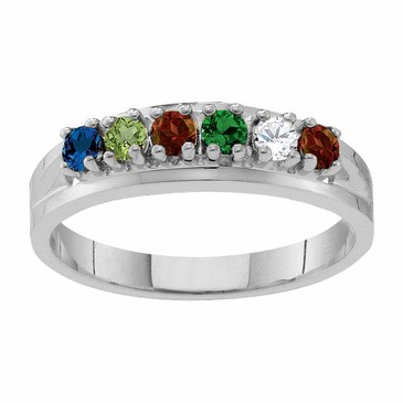Sterling Silver Classic Family Birthstone Ring