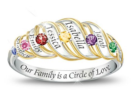 Sterling Silver Engraved Family Birthstone Ring with Names