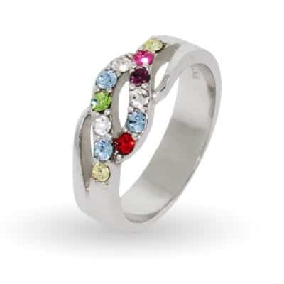Sterling Silver Mothers Ring with 12 Birthstones