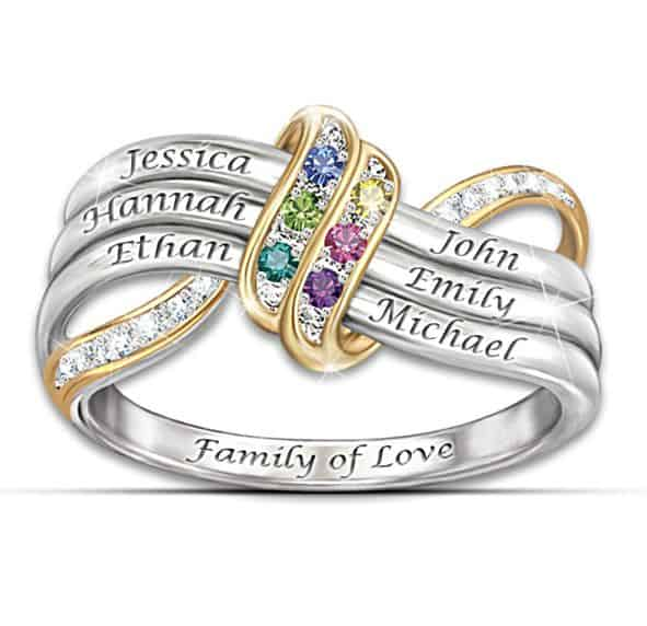 Unique Mothers Birthstone Infinity Ring with Names