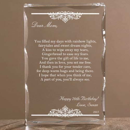 Personalized Dear Mom Poem Keepsake