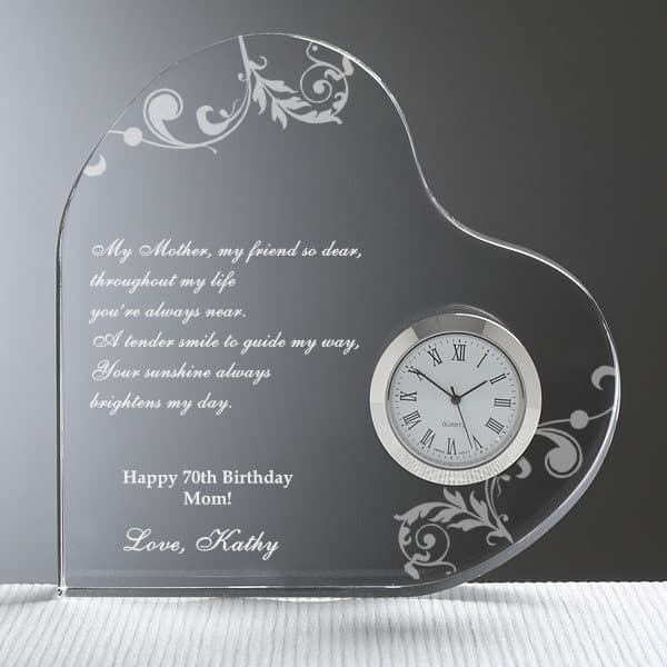 Let Mom know how much you treasure time spent with her with this gorgeous personalized heart-shaped clock.  Engrave your own loving message to create a meaningful gift that Mom will treasure forever.