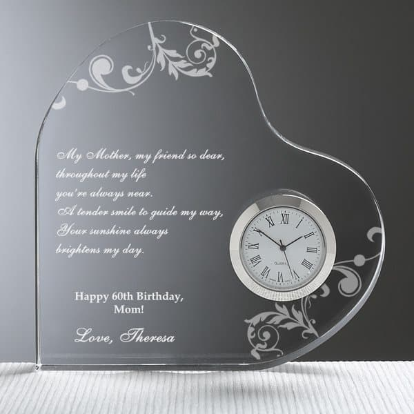 Looking for a sentimental 60th birthday gift for your mother?  Touch her heart with this lovely personalized heart-shaped clock that has plenty of room to add a heart-felt message of love.