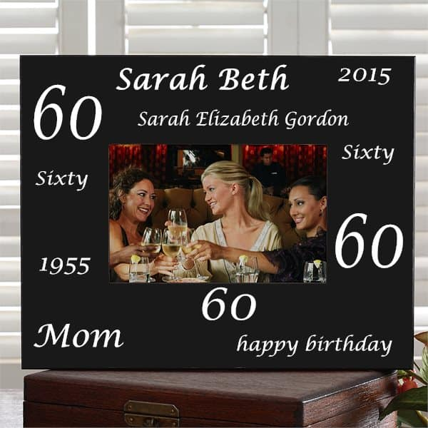 60th Birthday Picture Frame - personalized frame is a wonderful way to show off a treasured picture from the big day!  Choose from 6 colors.