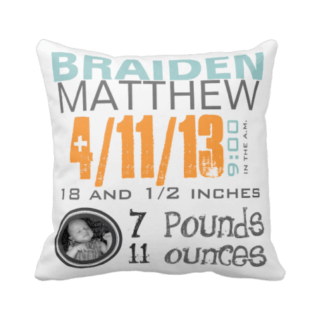 Personalized Birth Pillow