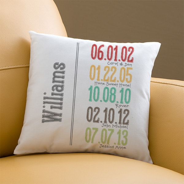 Looking for meaningful birthday gifts for Mom?  She'll treasure this pillow which highlights the most important dates in her family's history!