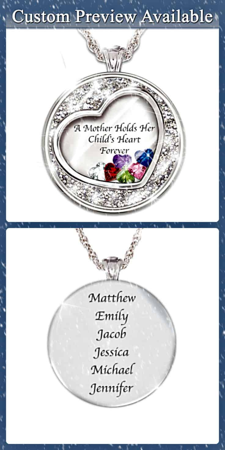Floating Heart Birthstone Necklace with Names