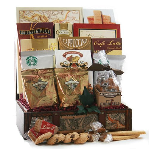 Birthday gift baskets for her - Looking for a birthday gift for the woman who's a coffee fiend?  Impress her with this delightful coffee lover's gift basket!