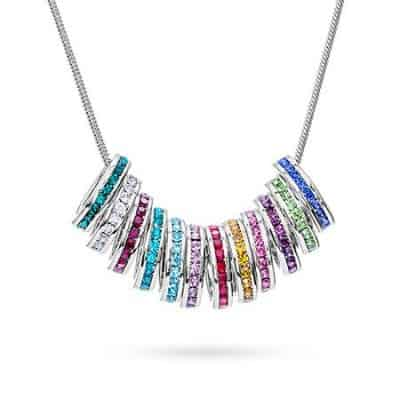 Stackable Mothers Birthstone Charm Necklace