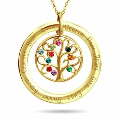Family tree necklace - Looking for a 60th birthday gift that Mom will love for years to come? Give her this beautiful and meaningful family tree necklace that features her kids names and birthstones!  Choose sterling silver, yellow gold or rose gold.