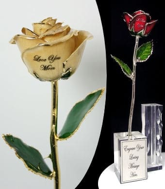 Unique gifts for Mom - Show Mom how much you love her with this unique real rose that's dipped in your choice of 24k gold, silver or platinum.