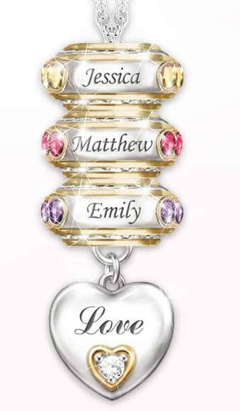 "The stylish Mom or Grandma will love wearing this sparkling personalized necklace that features her kids' names and birthstones!  The bottom charm is engraved with ""Love"" on one side and ""My Family, My Joy"" on the other side."