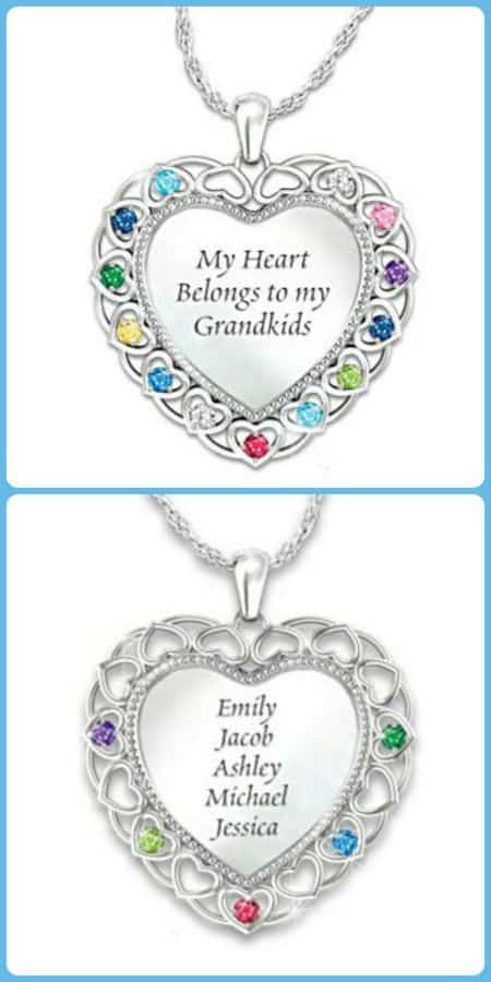 "Wondering what to get Grandma for Christmas?  Delight her with this gorgeous ""My Heart Belongs to My Grandkids"" birthstone necklace!"