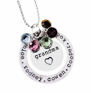 Trendy Birthstone & Name Necklace for Grandma