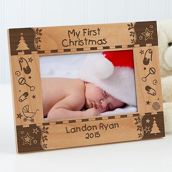 Adorable personalized baby's first Christmas frame is a cute way to showcase a favorite picture of the new baby.  Thoughtful Christmas present for the new parents!