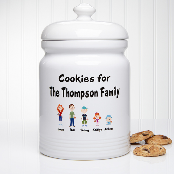 Adorable personalized family characters cookie jar is the perfect Christmas gift for the Mom who loves to bake!