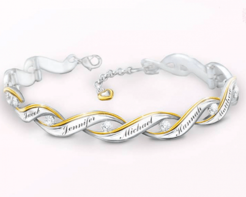 Mother in Law Christmas Gifts: Impress your mother in law this Christmas with this beautiful personalized diamond bracelet that features the names of her loved ones.