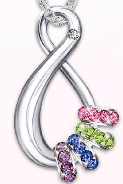 Diamond Infinity Necklace with Birthstones