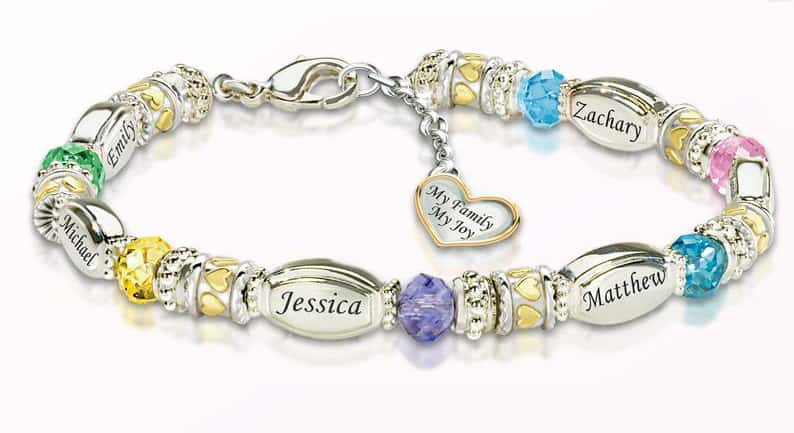 Sentimental Jewelry For Mom - Delight Mom with this colorful bracelet that features her childrens' names and birthstones.  A meaningful gift Mom will treasure forever!