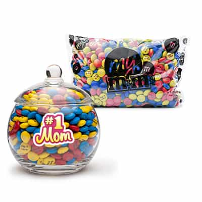 #1 Mom Candy Bowl with Personalized M&Ms