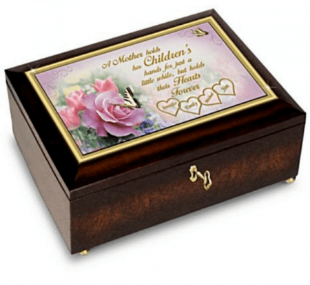 Delight Mom this Christmas with this sentimental music box that is personalized with her kids names!