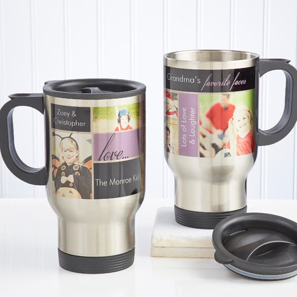 Need an inexpensive Christmas gift for Mom?  She'll treasure this adorable personalized travel mug that features the pictures of her loved ones.  And she'll never guess how little you paid for it.
