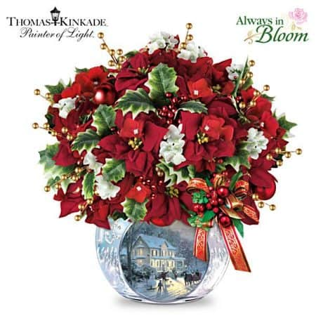 Striking Thomas Kinkade illuminated centerpiece is a Christmas decoration that Grandma will enjoy using for many years!