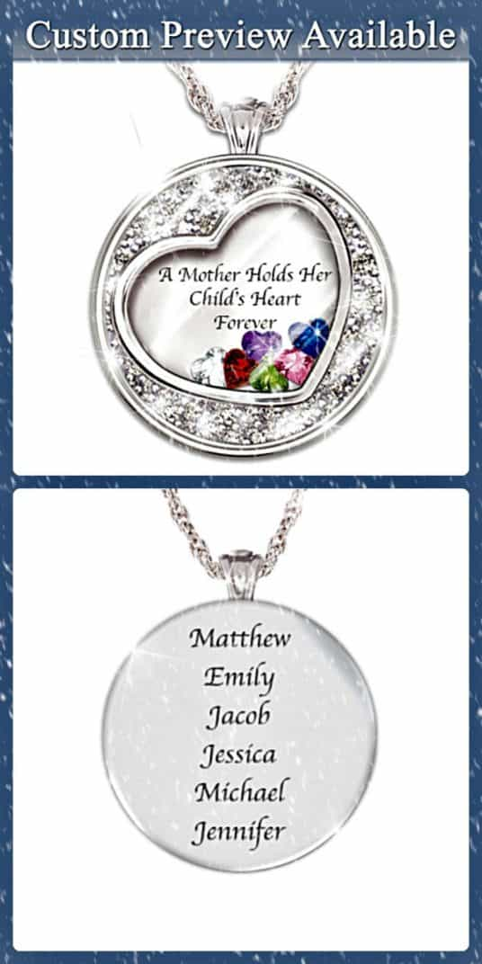 "Mother's Necklace with names - How sweet is this ""A Mother Holds her Child's Heart Forever"" necklace?   Love the floating heart-shaped birthstone charms!"