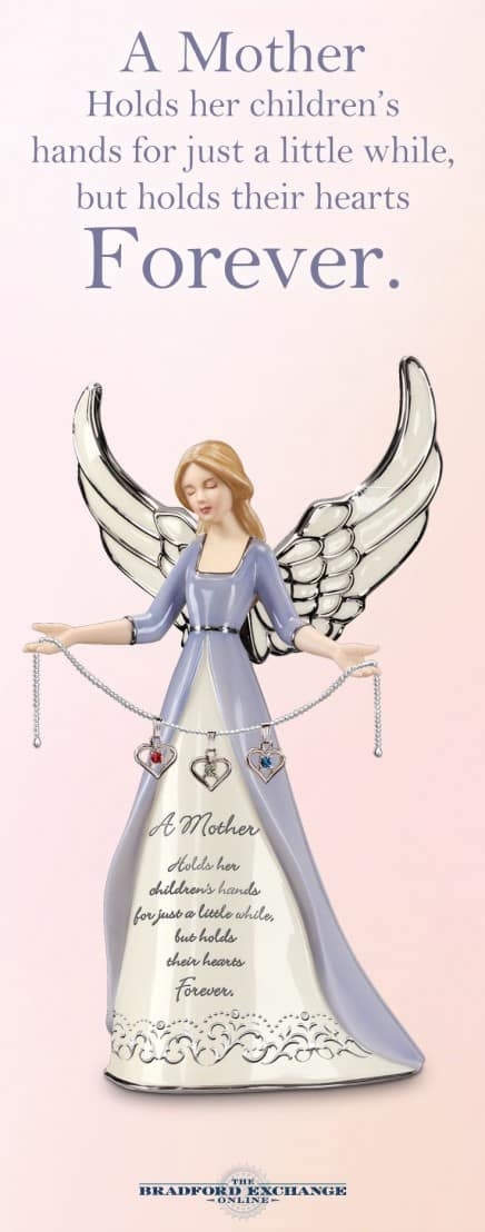 Delight Mom on Christmas, her birthday or Mother's Day with this shining porcelain angel figurine.  Sweet gift features a heartfelt quote about Mom's love.  Angel figurine holds a chain that features her kid's birthstones.  A gift she'll treasure forever!