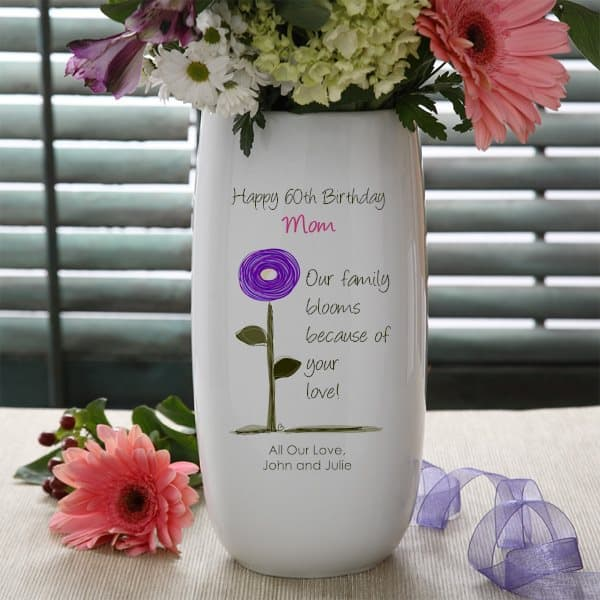 Personalized 60th BirthdayFlower Vase for Mom