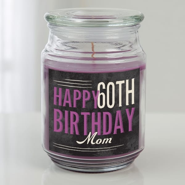 Light up Mom's life with a personalized 60th birthday candle that she can enjoy long after her birthday has come and gone!