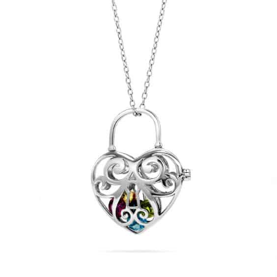 Birthstone Heart Locket Necklace for Grandma