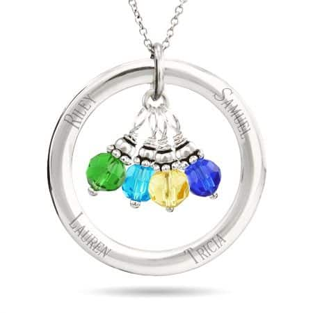 Cheap Mothers Necklace with Kids Birthstones